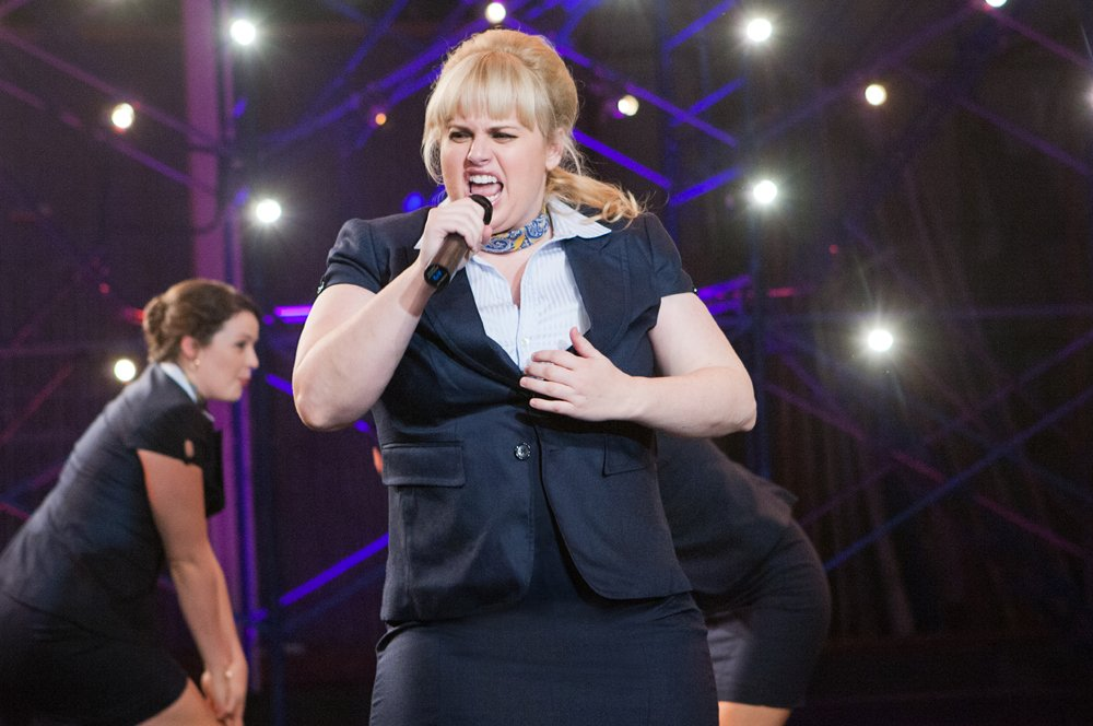 Fat Amy (REBEL WILSON) belts it out in ?Pitch Perfect?, an out-loud comedy that?s loaded with new takes on old favorites to hits of right now that are seamlessly mixed together, mashed-up and arranged like you?ve never heard before.